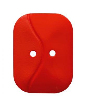 rechteckiger Knopf mit Welle, 2-Loch - Größe: 32mm - Farbe: rot - Art.Nr. 374809