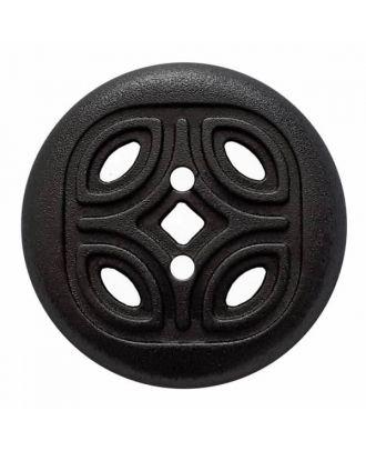 Knopf mit offenem Ornament, 2-Loch - Größe: 30mm - Farbe: schwarz - Art.Nr. 380377