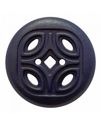 Knopf mit offenem Ornament, 2-Loch - Größe: 30mm - Farbe: dunkelblau - Art.Nr. 384817
