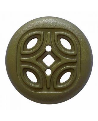 Knopf mit offenem Ornament, 2-Loch - Größe: 20mm - Farbe: grün - Art.Nr. 314822