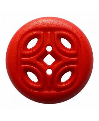 Knopf mit offenem Ornament, 2-Loch - Größe: 20mm - Farbe: rot - Art.Nr. 314825