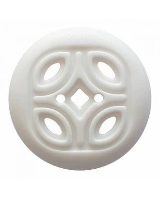 Knopf mit offenem Ornament, 2-Loch - Größe: 30mm - Farbe: weiß - Art.Nr. 380376