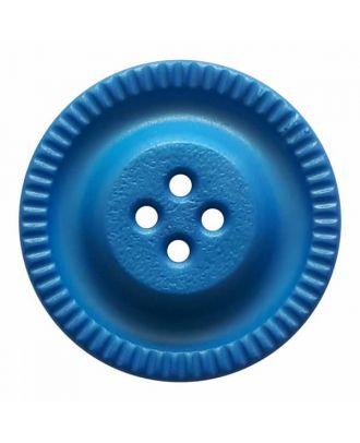 Knopf mit Zahnrad am Rand, 4-Loch - Größe: 28mm - Farbe: blau - Art.Nr. 344854