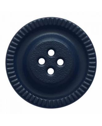 Knopf mit Zahnrad am Rand, 4-Loch - Größe: 28mm - Farbe: dunkelblau - Art.Nr. 344855