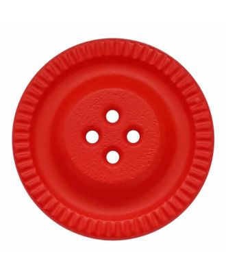 Knopf mit Zahnrad am Rand, 4-Loch - Größe: 28mm - Farbe: rot - Art.Nr. 344860