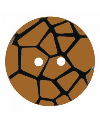 Knopf mit einem erhöhten schwarzen Spinnennetz , 2-Loch - Größe: 28mm - Farbe: beige - Art.Nr. 374824
