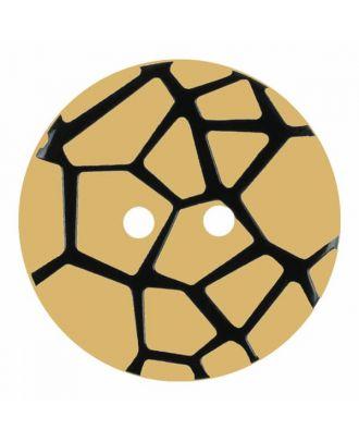 Knopf mit einem erhöhten schwarzen Spinnennetz , 2-Loch - Größe: 28mm - Farbe: beige - Art.Nr. 374825
