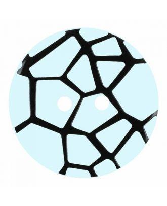Knopf mit einem erhöhten schwarzen Spinnennetz , 2-Loch - Größe: 28mm - Farbe: blau - Art.Nr. 374827