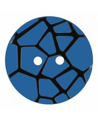 Knopf mit einem erhöhten schwarzen Spinnennetz , 2-Loch - Größe: 18mm - Farbe: blau - Art.Nr. 314831