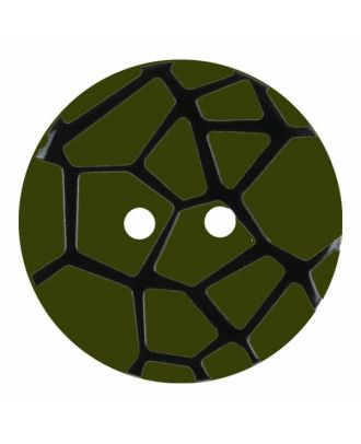 Knopf mit einem erhöhten schwarzen Spinnennetz , 2-Loch - Größe: 18mm - Farbe: grün - Art.Nr. 314834