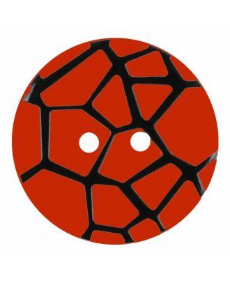 Knopf mit einem erhöhten schwarzen Spinnennetz , 2-Loch - Größe: 28mm - Farbe: rot - Art.Nr. 374834