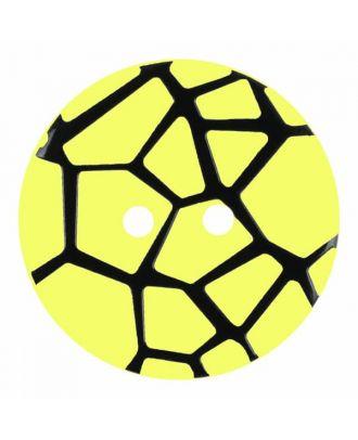 Knopf mit einem erhöhten schwarzen Spinnennetz , 2-Loch - Größe: 28mm - Farbe: gelb - Art.Nr. 374835