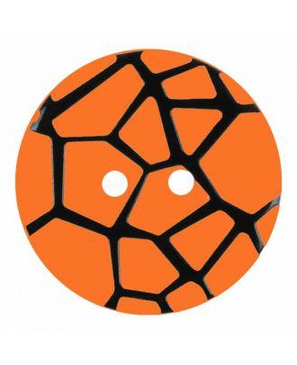 Knopf mit einem erhöhten schwarzen Spinnennetz , 2-Loch - Größe: 28mm - Farbe: orange - Art.Nr. 374836