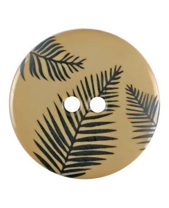 Knopf mit Blättern, 2-Loch - Größe: 25mm - Farbe: beige - Art.Nr. 344824