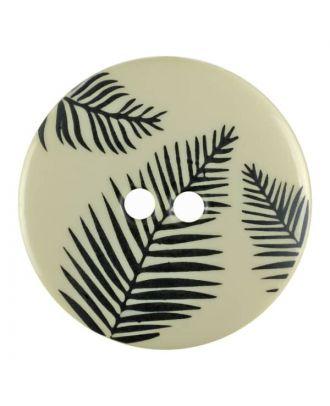 Knopf mit Blättern, 2-Loch - Größe: 25mm - Farbe: beige - Art.Nr. 344825