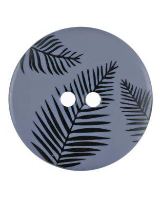 Knopf mit Blättern, 2-Loch - Größe: 13mm - Farbe: blau - Art.Nr. 264805