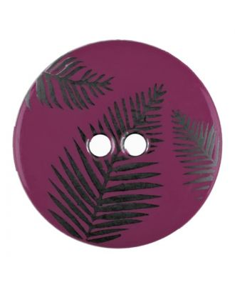 Knopf mit Blättern, 2-Loch - Größe: 25mm - Farbe: lila - Art.Nr. 344830