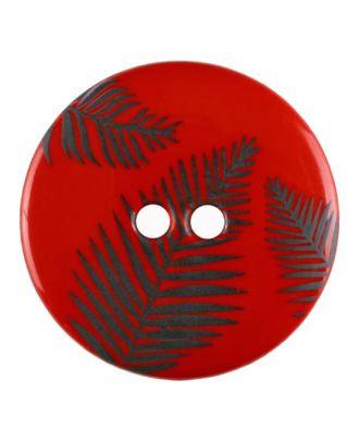 Knopf mit Blättern, 2-Loch - Größe: 18mm - Farbe: rot - Art.Nr. 314811