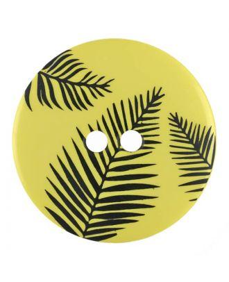Knopf mit Blättern, 2-Loch - Größe: 18mm - Farbe: gelb - Art.Nr. 314812