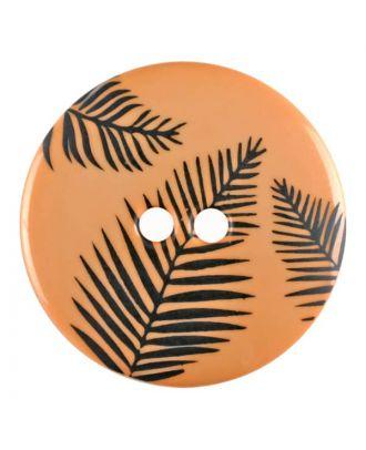Knopf mit Blättern, 2-Loch - Größe: 25mm - Farbe: orange - Art.Nr. 344837