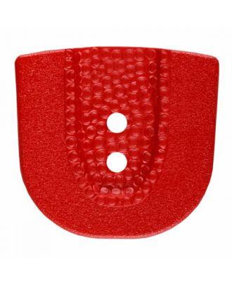 Polyamidknopf in Hufeisenform mit zwei Löchern - Größe: 30mm - Farbe: rot - Art.Nr. 385810