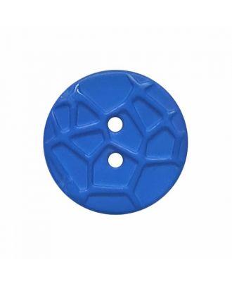 kleiner Knopf mit erhabenen Spinnennetzmuster, 2-Loch - Größe: 13mm - Farbe: blau - Art.Nr. 224809