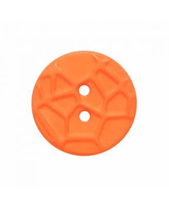 kleiner Knopf mit erhabenen Spinnennetzmuster, 2-Loch - Größe: 13mm - Farbe: orange - Art.Nr. 224821