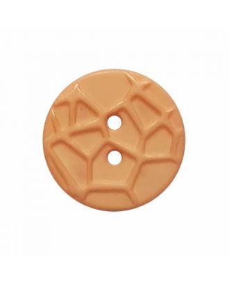 kleiner Knopf mit erhabenen Spinnennetzmuster, 2-Loch - Größe: 13mm - Farbe: orange - Art.Nr. 224822