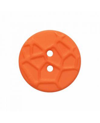 kleiner Knopf mit erhabenen Spinnennetzmuster, 2-Loch - Größe: 13mm - Farbe: orange - Art.Nr. 224823