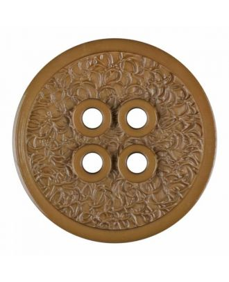 Polyamidknopf mit schmaler Kante und Oberflächenrelief mit vier Löchern - Größe: 28mm - Farbe: beige - Art.Nr. 345825