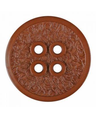 Polyamidknopf mit schmaler Kante und Oberflächenrelief mit vier Löchern - Größe: 34mm - Farbe: braun - Art.Nr. 375801