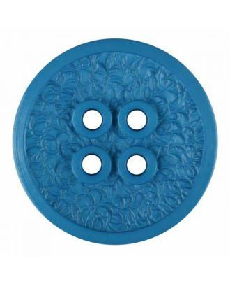 Polyamidknopf mit schmaler Kante und Oberflächenrelief mit vier Löchern - Größe: 34mm - Farbe: blau - Art.Nr. 375802