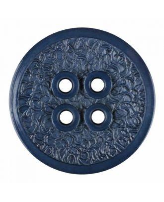 Polyamidknopf mit schmaler Kante und Oberflächenrelief mit vier Löchern - Größe: 34mm - Farbe: blau - Art.Nr. 375803
