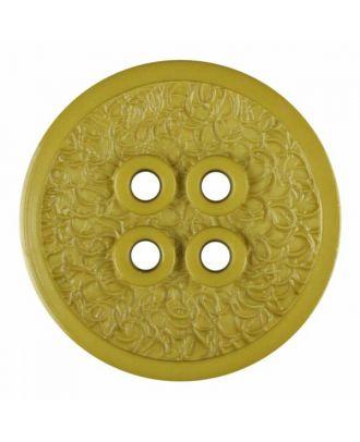 Polyamidknopf mit schmaler Kante und Oberflächenrelief mit vier Löchern - Größe: 34mm - Farbe: grün - Art.Nr. 375805
