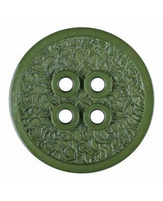 Polyamidknopf mit schmaler Kante und Oberflächenrelief mit vier Löchern - Größe: 34mm - Farbe: grün - Art.Nr. 375806