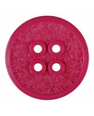 Polyamidknopf mit schmaler Kante und Oberflächenrelief mit vier Löchern - Größe: 34mm - Farbe: rosa - Art.Nr. 375808
