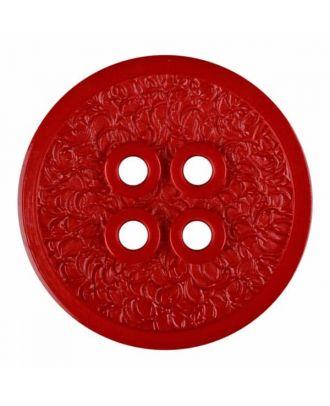 Polyamidknopf mit schmaler Kante und Oberflächenrelief mit vier Löchern - Größe: 28mm - Farbe: rot - Art.Nr. 345835