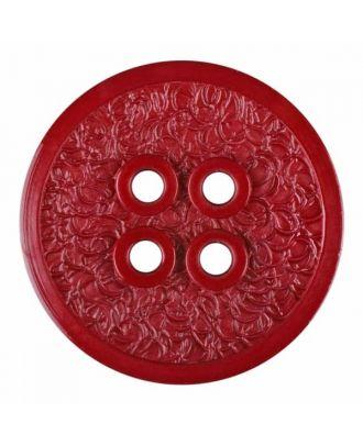 Polyamidknopf mit schmaler Kante und Oberflächenrelief mit vier Löchern - Größe: 34mm - Farbe: weinrot - Art.Nr. 375807