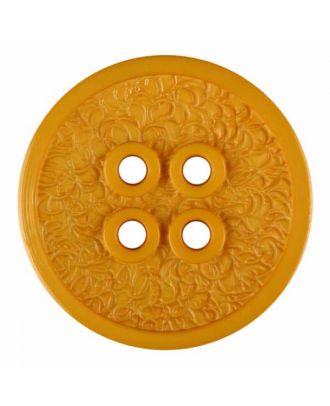 Polyamidknopf mit schmaler Kante und Oberflächenrelief mit vier Löchern - Größe: 34mm - Farbe: gelb - Art.Nr. 375811