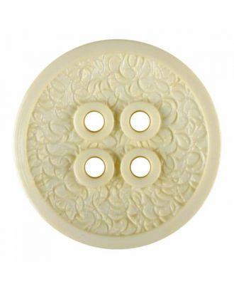 Polyamidknopf mit schmaler Kante und Oberflächenrelief mit vier Löchern - Größe: 34mm - Farbe: gelb - Art.Nr. 375812