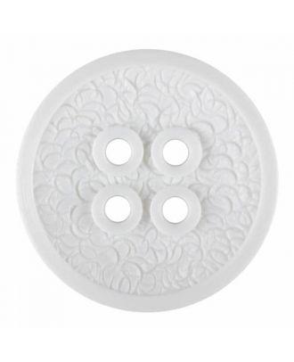 Polyamidknopf mit schmaler Kante und Oberflächenrelief mit vier Löchern - Größe: 34mm - Farbe: weiß - Art.Nr. 370882