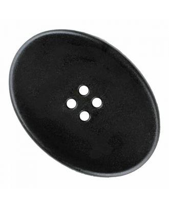 ovaler Polyamidknopf mit vier Löchern - Größe: 38mm - Farbe: schwarz - Art.Nr. 370888