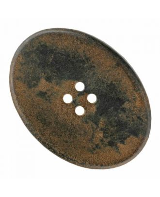 ovaler Polyamidknopf mit vier Löchern - Größe: 30mm - Farbe: braun - Art.Nr. 370886
