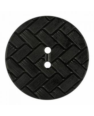 Polyamidknopf mit Flechtmuster und zwei Löchern - Größe: 28mm - Farbe: schwarz - Art.Nr. 370891