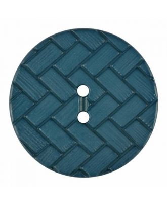 Polyamidknopf mit Flechtmuster und zwei Löchern - Größe: 28mm - Farbe: blau - Art.Nr. 375842