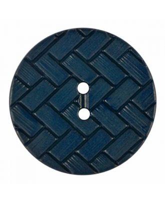 Polyamidknopf mit Flechtmuster und zwei Löchern - Größe: 18mm - Farbe: blau - Art.Nr. 315830