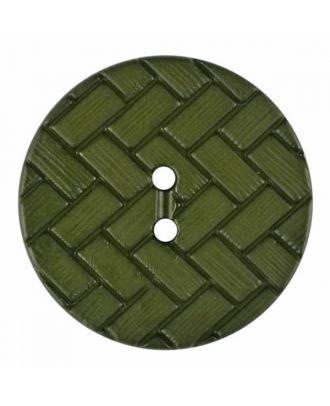 Polyamidknopf mit Flechtmuster und zwei Löchern - Größe: 18mm - Farbe: grün - Art.Nr. 315833