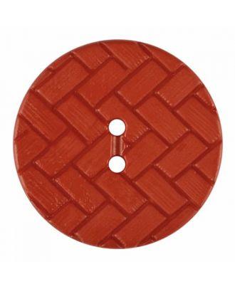 Polyamidknopf mit Flechtmuster und zwei Löchern - Größe: 28mm - Farbe: rot - Art.Nr. 375848