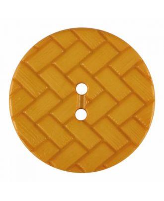 Polyamidknopf mit Flechtmuster und zwei Löchern - Größe: 28mm - Farbe: gelb - Art.Nr. 375850
