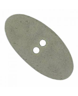 ovaler Polyamidknopf im Vintage Look mit zwei Löchern - Größe: 55mm - Farbe: grau - Art.Nr. 455800